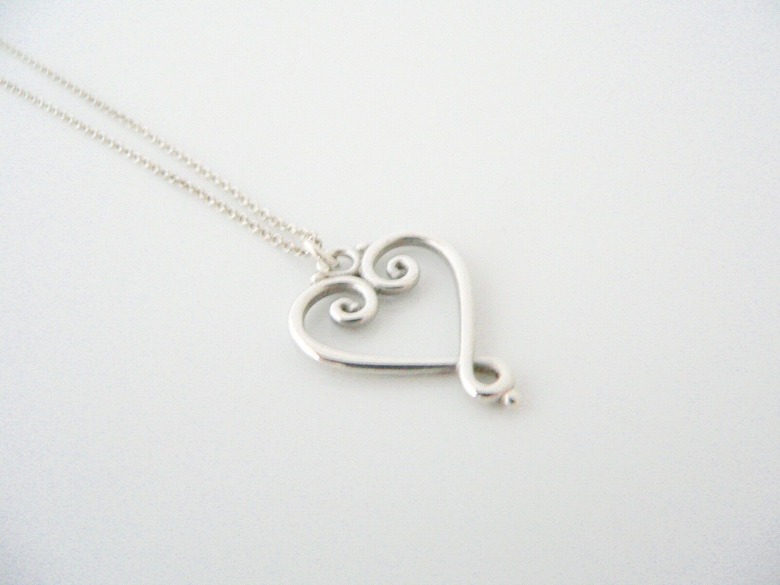 Tiffany & Co Silver Picasso Venezia Goldoni Heart Necklace Pendant 19 In Longer