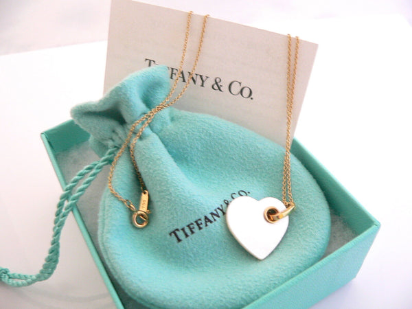 Tiffany & Co 18K Gold Mother of Pearl Heart Necklace Pendant Charm Gift Love