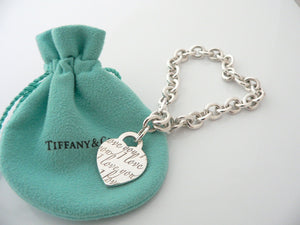 Tiffany & Co Silver I Love You Heart Bracelet Bangle 7.75 Inch Gift Love Pouch