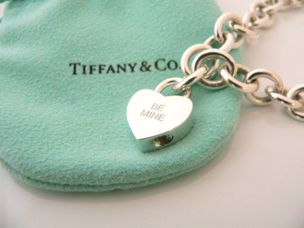 Tiffany & Co Silver BE MINE Heart Padlock Charm Bracelet Bangle Chain Gift Pouch