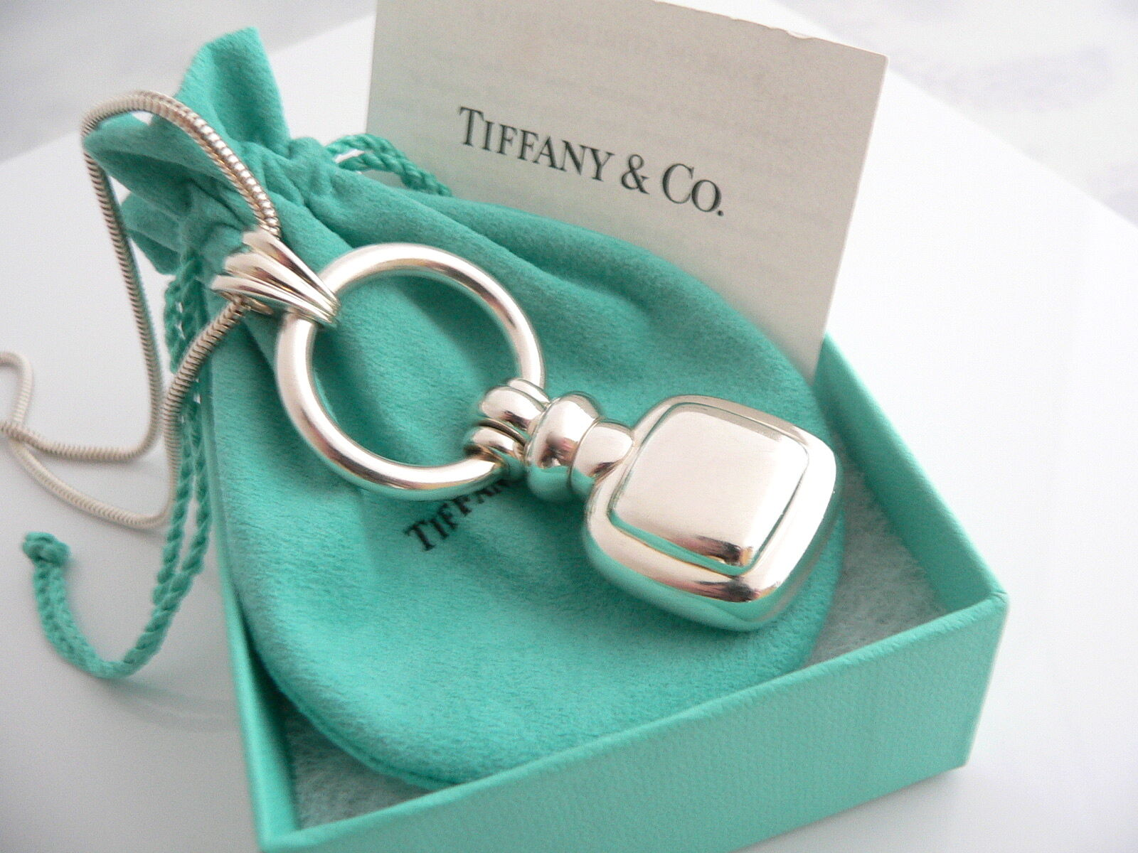Tiffany & Co Silver Perfume Bottle Necklace Pendant Charm 24 Inch Chain Rare Art