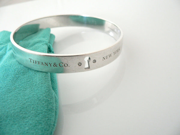 Tiffany & Co Silver Diamonds Locks Bracelet Bangle Rare Classic Gift Pouch Love