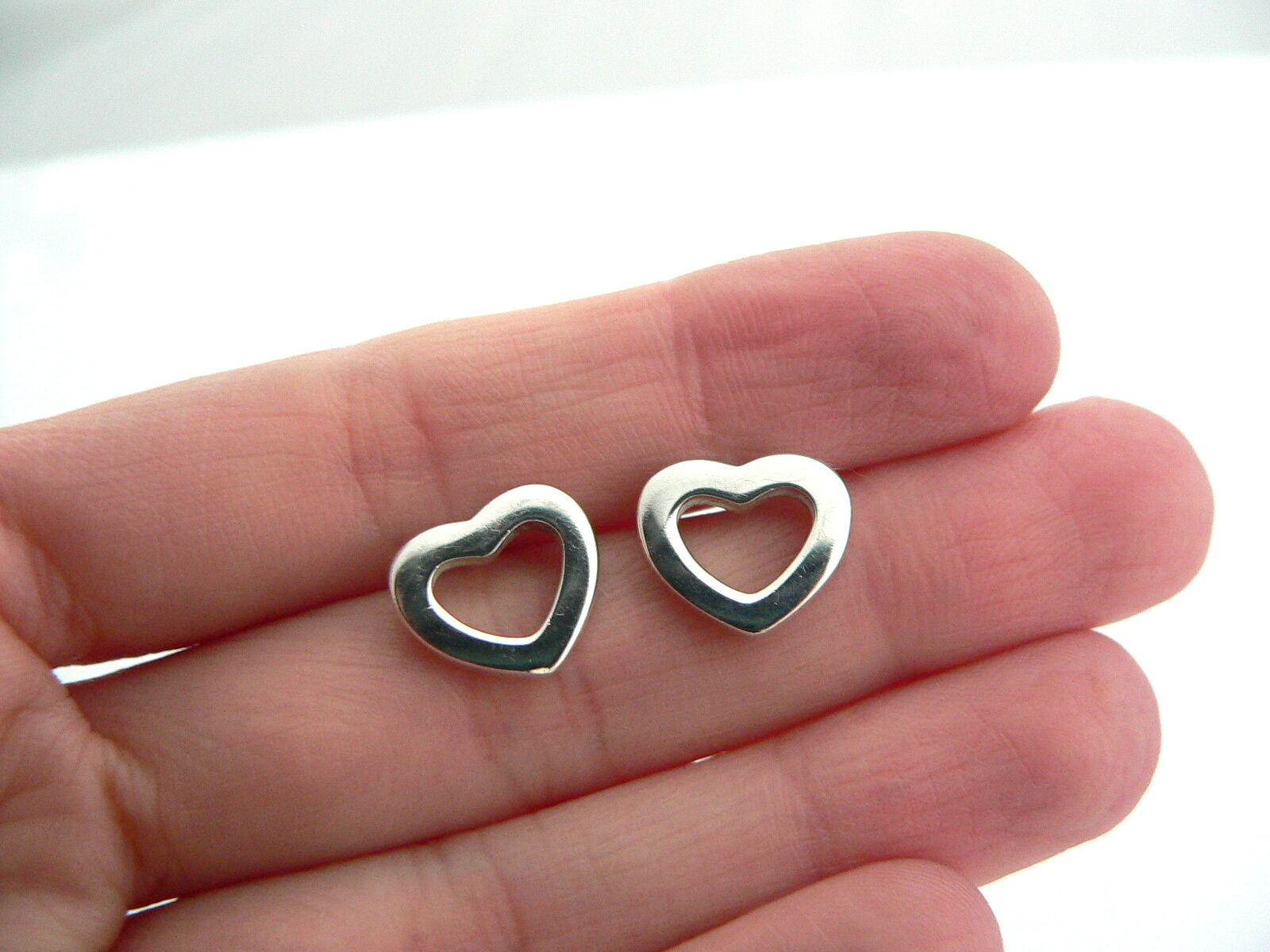 Tiffany & Co Silver Open Heart Earrings Studs Gift Love Rare