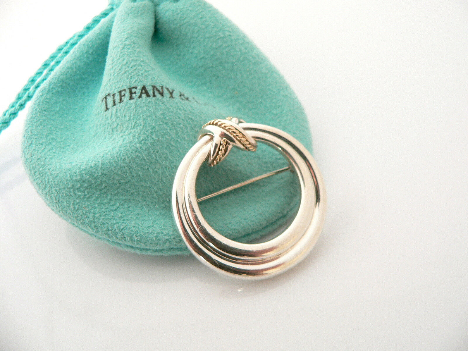 Tiffany & Co Silver 18K Gold Signature X  Rope Brooch Pin Rare Gift Pouch Love