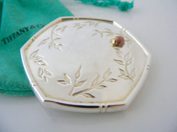 Tiffany & Co Silver Gold Bamboo Nature Ladybug Bug Mirror Compact Gift Love Art