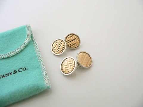 Tiffany & Co Silver Gold Textured Double Circle Round Cuff Links Gift Pouch Love