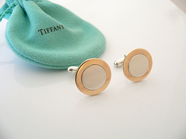 Tiffany & Co Silver 18K Gold Circle Cuff Links Rare Engravable Gift Pouch Love