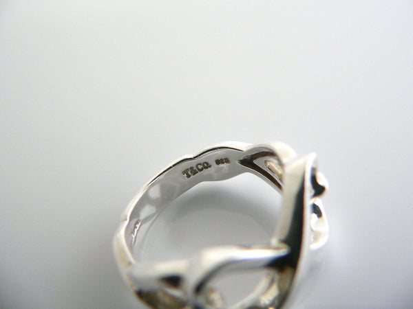 Tiffany & Co Silver Loving Heart Ring Band Sz 7 Double Infinity Gift Love
