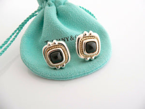 Tiffany & Co Silver Gold Rope Onyx Square Earrings Studs Pierced Gift Pouch