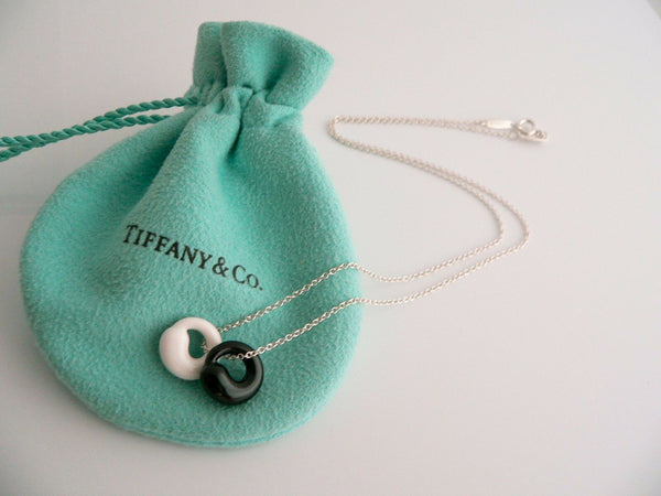 Tiffany & Co Silver Black Jade White Chalcedony Eternal Circle Necklace Gift