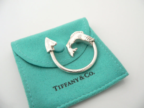 Tiffany & Co Silver Fishing Fish Hook Key Ring Key Chain Keychain Gift Pouch