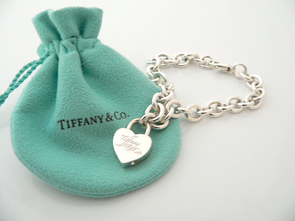 Tiffany & Co Notes Heart Padlock Bracelet Bangle Charm 7.75 In Silver Gift Love