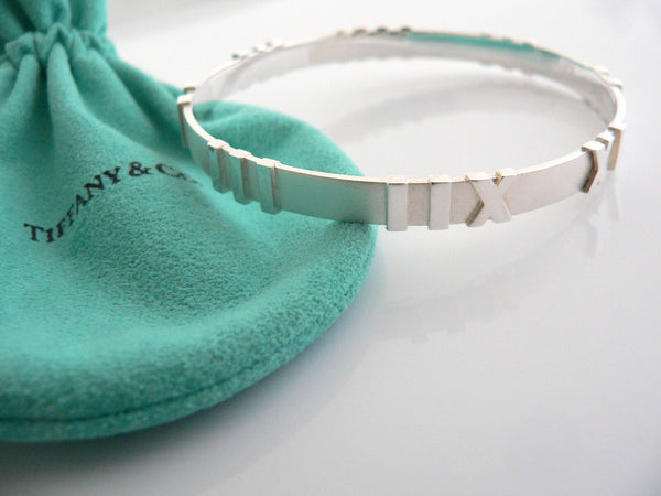 Tiffany & Co Atlas Bangle Bracelet Silver Gift Pouch Matte Roman Numeral