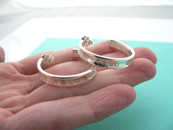 Tiffany & Co Silver 1837 Large Huge Hoop Earrings Rare Gift Love Statement