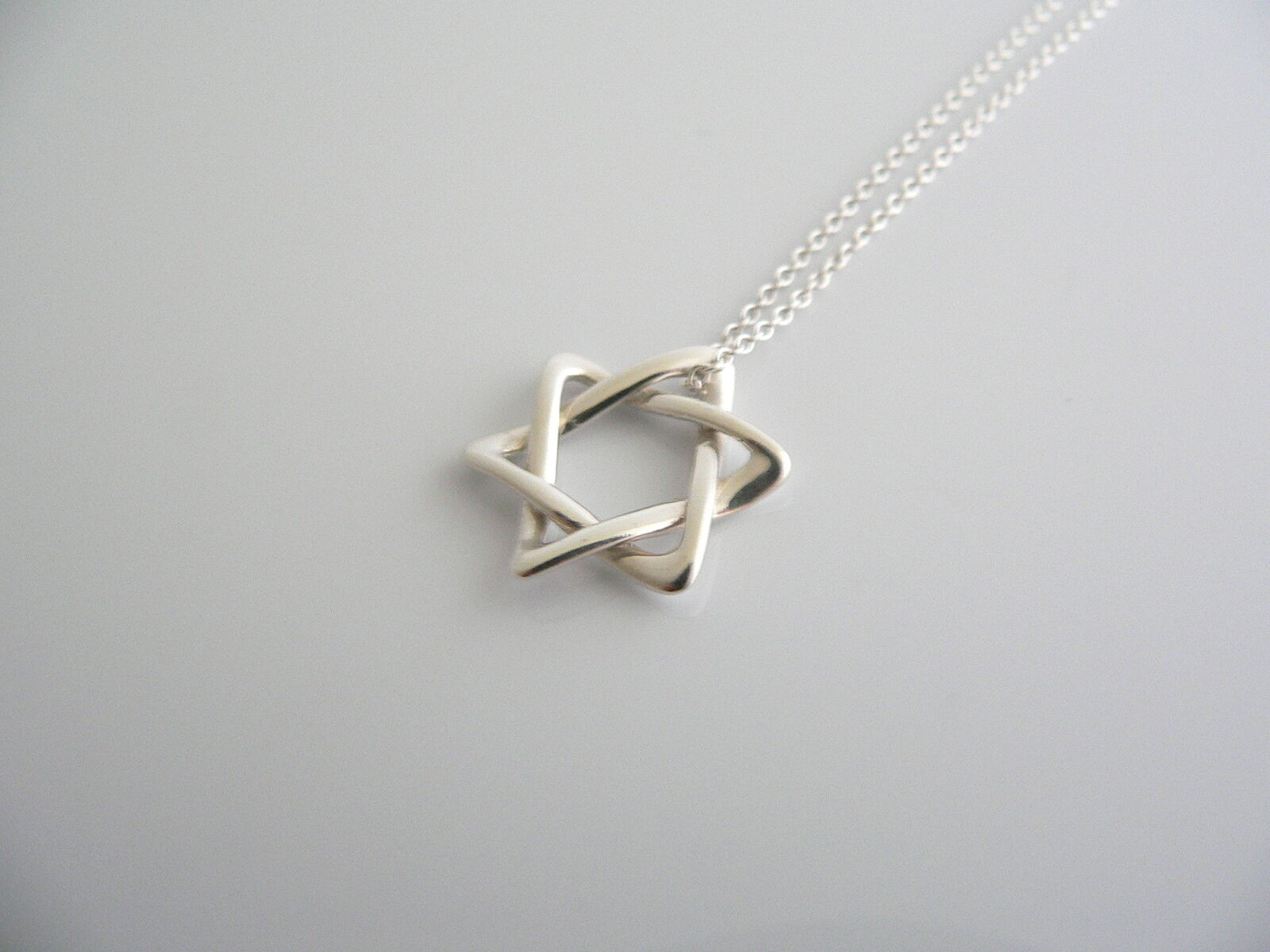 Tiffany & Co Peretti Silver Star of David Necklace Pendant Chain Rare Gift Love