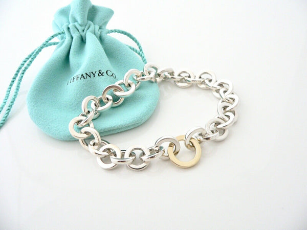 Tiffany & Co Silver 18K Gold Circles Link Bracelet Chain Rare Gift Pouch 8 Inch