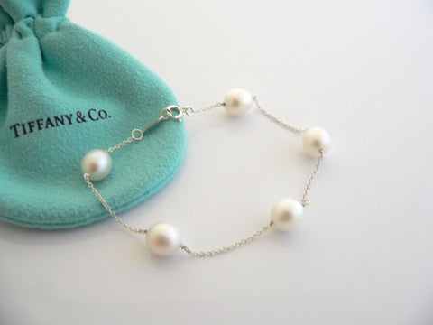 Tiffany & Co Silver Peretti Pearls by the Yard Bracelet Bangle 9 MM Gift Pouch