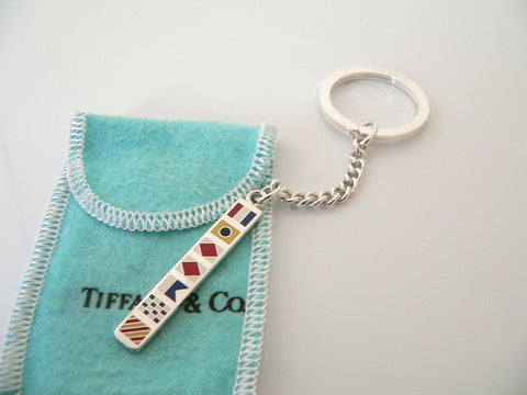 Tiffany & Co Silver Nautical Flag Bar Key Ring Chain Gift Pouch Sea Lover Enamel