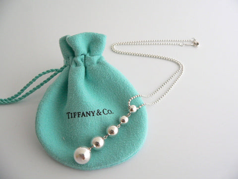 Tiffany & Co Silver Graduated Bead Dangle Ball Drop Necklace Pendant Gift Pouch