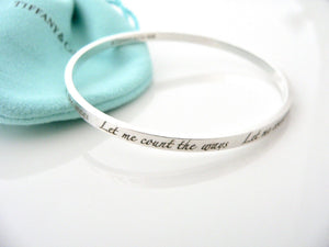 Tiffany & Co Silver Let Me Count the Ways Bracelet Bangle Pouch Gift Love Art