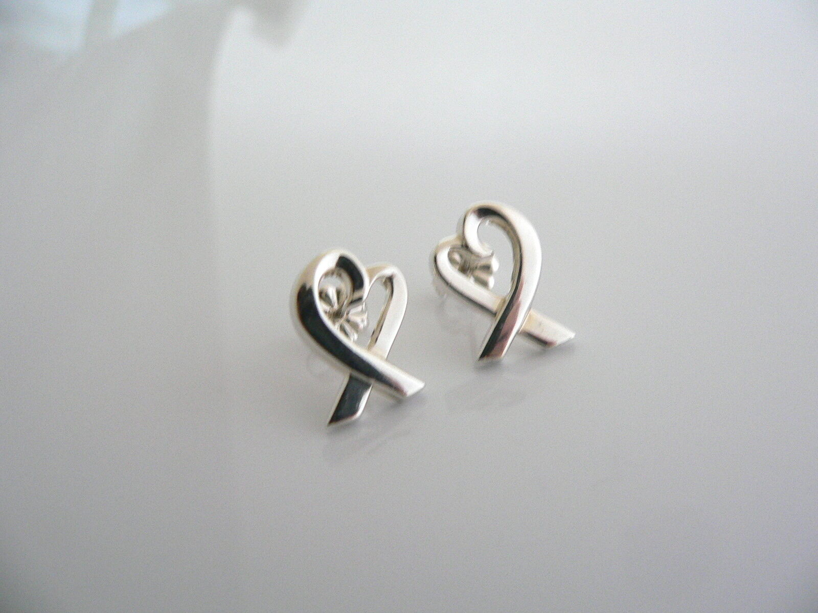 Tiffany & Co Silver Loving Heart Earrings Studs Picasso Gift Statement Classic