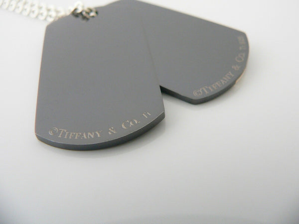 Tiffany & Co Silver Titanium Dog Tag Necklace Pendant Charm Gift Love 20 Inch