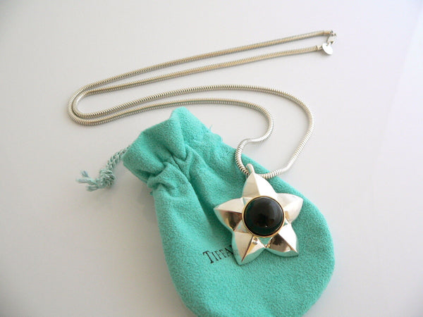 Tiffany & Co Silver 18K Gold Onyx Star Necklace Pendant 24 Inch Snake Chain Gift