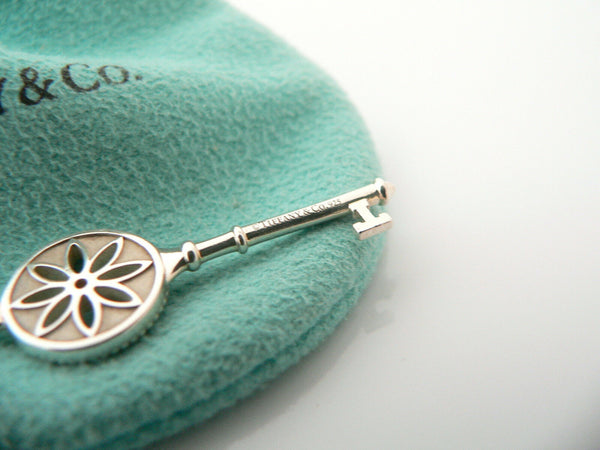 Tiffany Co Silver Diamond Nature Daisy Flower Key Necklace Pendant Chain Gift