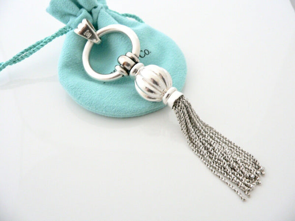 Tiffany & Co Silver Tassel Charm Pendant 4 Necklace Chain Gift Pouch Love