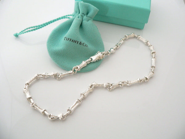 Tiffany & Co Silver Nature Bamboo Link Necklace Pendant Chain Gift Pouch Love
