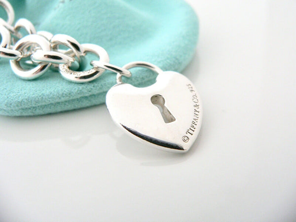 Tiffany & Co Silver Heart Key Hole Charm Bracelet Bangle Link 7.9 In Chain Gift