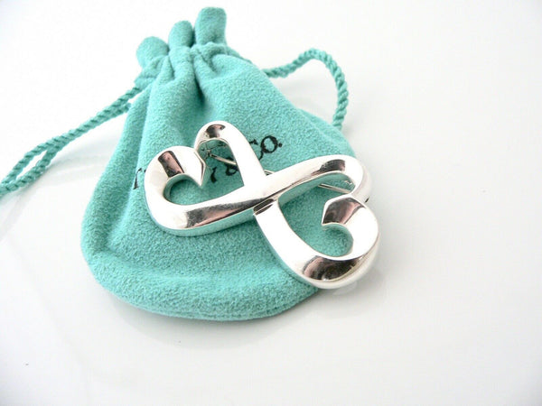 Tiffany & Co Silver Picasso Double Loving Heart Pin Brooch Gift Love Pouch
