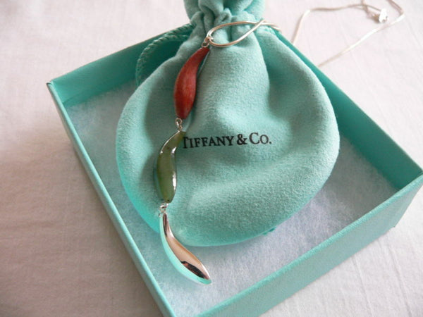 Tiffany & Co Silver Gehry Fish Jade Wood Triple Dangle Necklace Pendant Gift Art