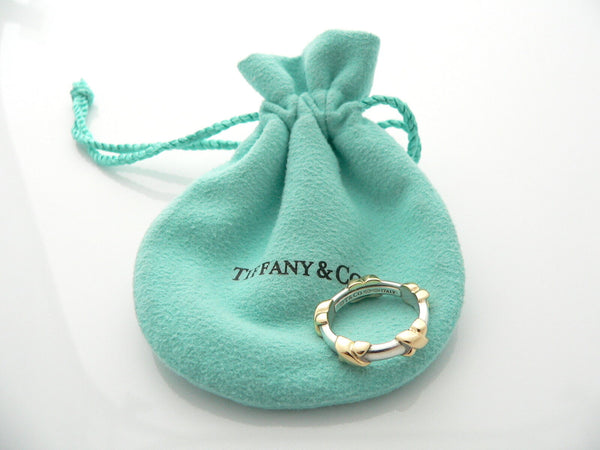 Tiffany & Co Silver 18K Gold Signature X Ring Stacking Band Sz 5.5 Gift Pouch