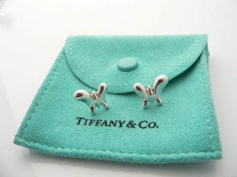 Tiffany & Co Silver Peretti Butterfly Earrings Nature Stencil Studs Gift Love