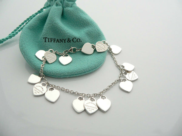 Tiffany & Co Hearts Dangle Bracelet Bangle Link Silver Return To Tiffany Love