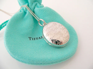 Tiffany & Co Notes Oval Locket Necklace Pendant Charm 18 Inch Chain Silver Gift