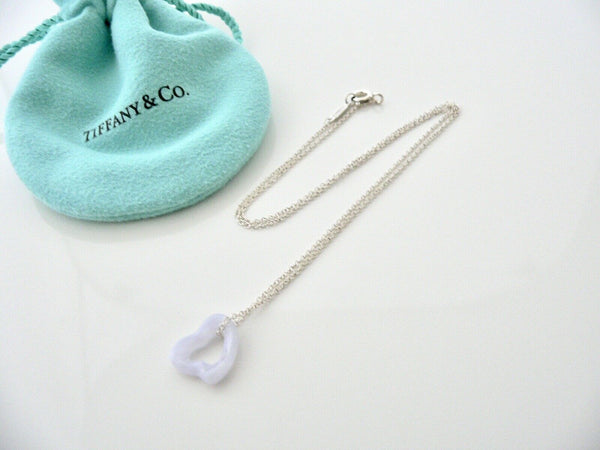 Tiffany & Co Blue Lace Agate Necklace Pendant Charm Chain Silver Gift Pouch Love