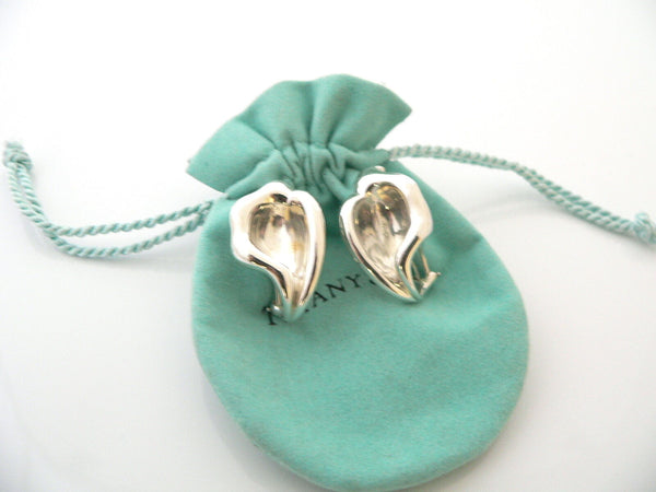 Tiffany & Co Silver Peretti Nature Flower Calla Lily Clip On Earrings Gift Pouch
