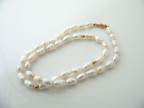 Pearl Necklace 14K Gold Bead Ball Strand Clasp Chain Pendant Choker Gift Love