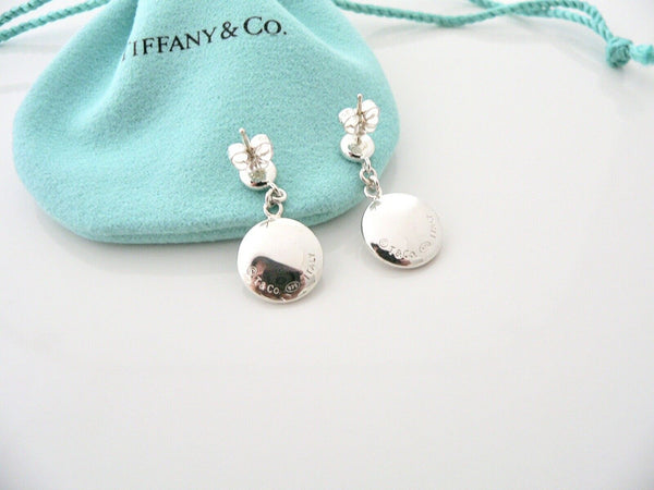 Tiffany & Co Silver Disc Circle Dangling Dangle Earrings Pouch Gift Rare