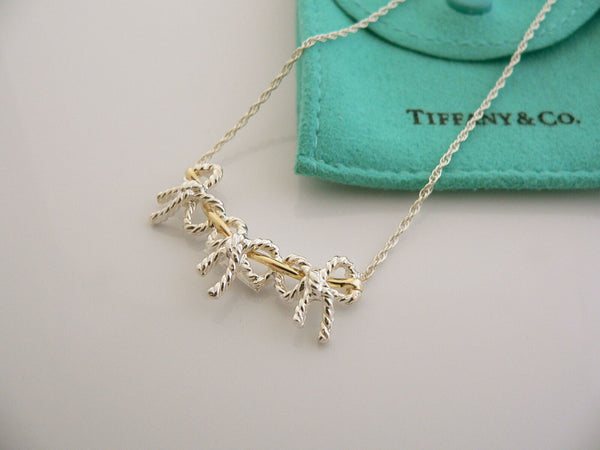 Tiffany & Co Silver 18K Gold Triple Ribbon Bow Necklace Pendant 19 In Gift Pouch
