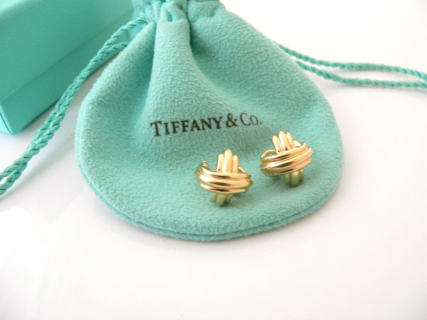 Tiffany & Co 18K Gold Signature X Earrings Studs Omega Backs Gift Pouch Box Love