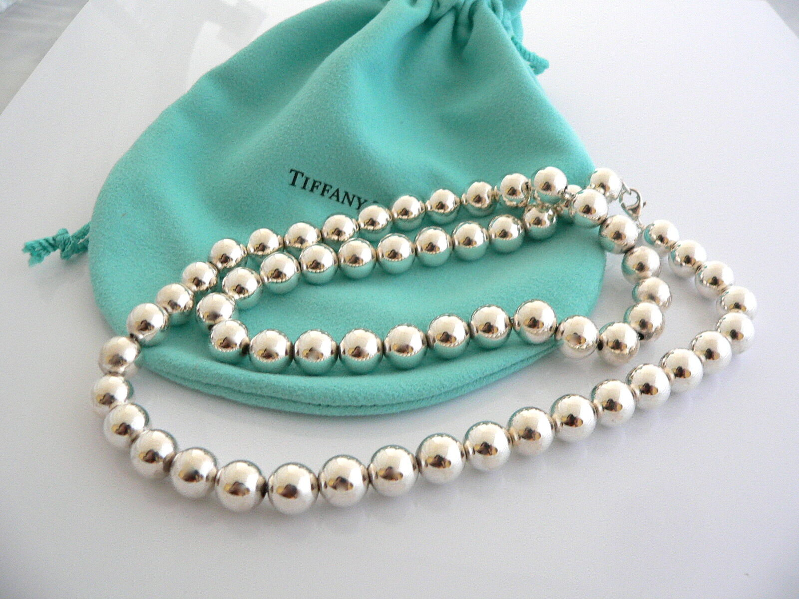 Tiffany & Co Silver 10 MM Ball Bead Necklace 31.5 In Chain Rare Gift Pouch Love