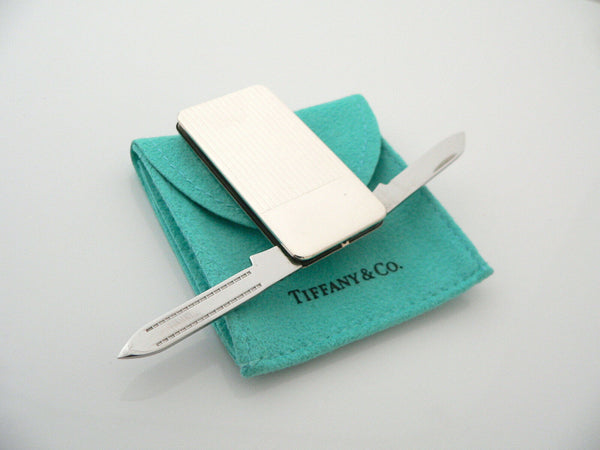Tiffany & Co Silver Stripe Knife Nail File Money Clip Holder Rare Gift Pouch