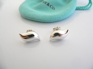 Tiffany & Co Silver Peretti Feather Wave Earrings Studs Gift Pouch Love Art