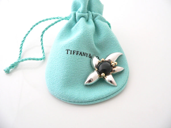 Tiffany & Co Silver 18K Gold Onyx Flower Brooch Pin Rare Gift Pouch Nature