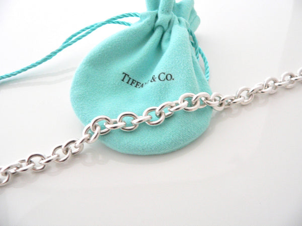 Tiffany & Co Silver Atlas Charm Toggle Circle Necklace Pendant Link Chain Gift