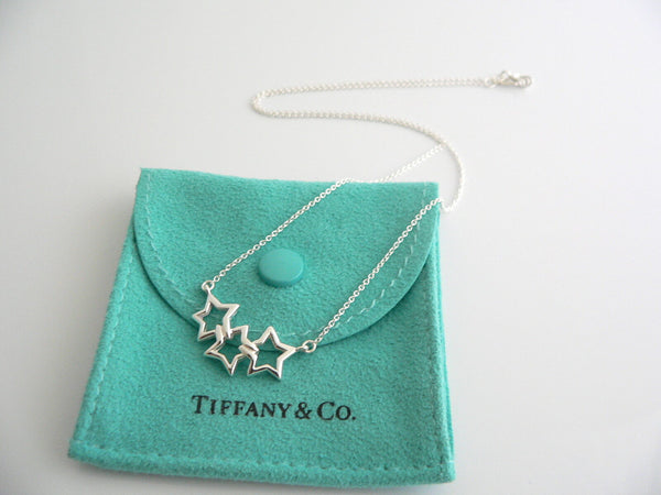Tiffany & Co Silver Triple Stars Necklace Pendant 17.6 inch Chain Gift Pouch