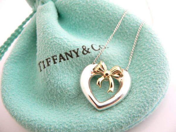 Tiffany & Co Silver 18K Gold Heart Ribbon Bow Necklace Pendant Charm 18 In Long